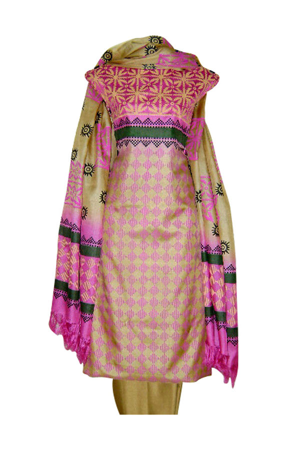 Pure Tussar Silk Suit in Pink Color_18