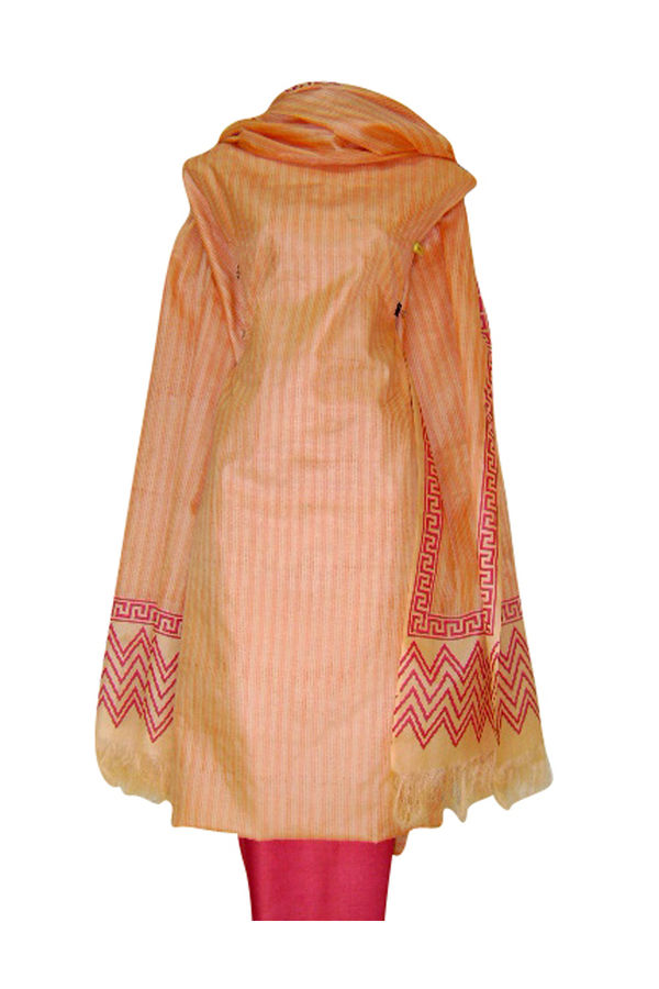 Pure Tussar Silk Suit in Pink Color_6