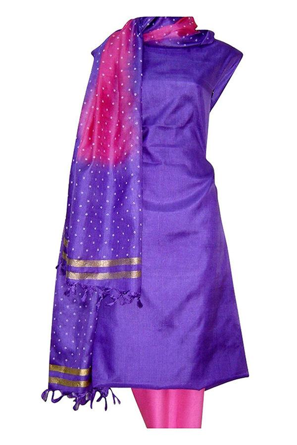 Tussar Silk Suit with Printed Dupatta  UL1500