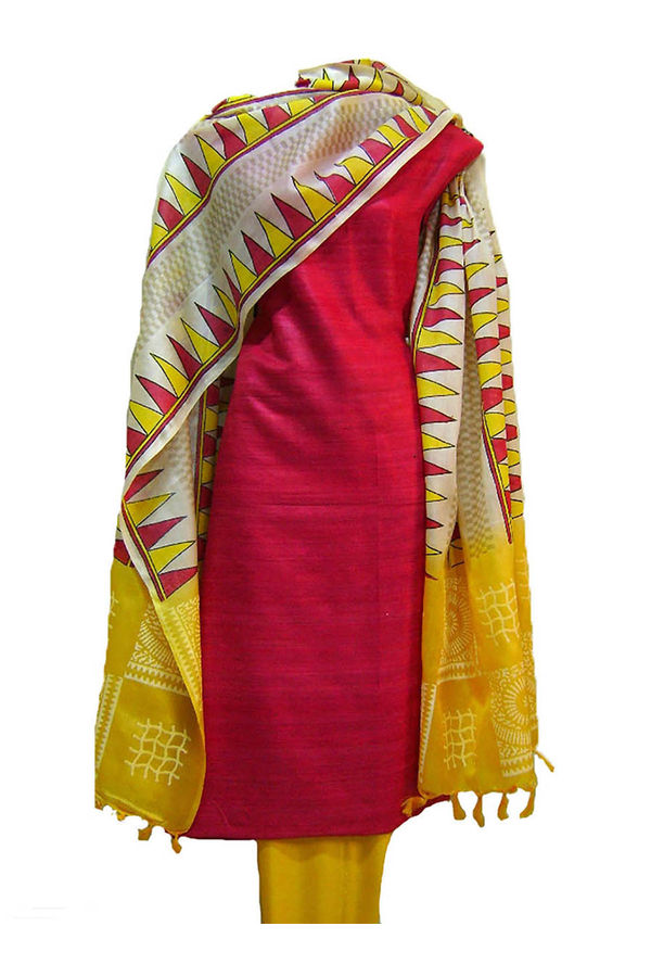 Tussar Silk Suit in Red Shade_27