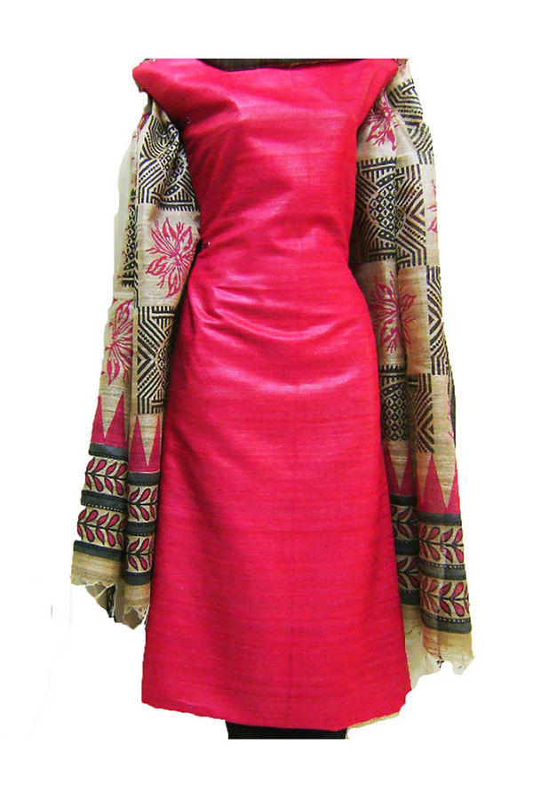 Tussar Silk Suit in Red Shade_28