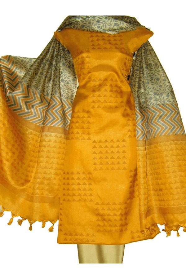 Tussar Silk Salwar Kameez Yellow_10