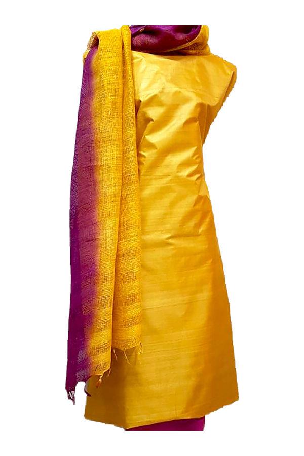 Tussar Silk Salwar Kameez Yellow_2