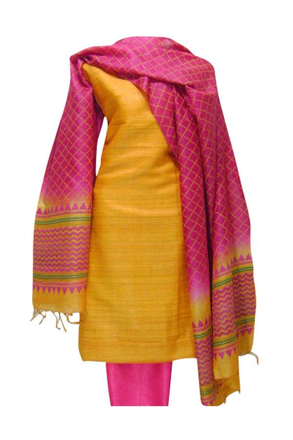 Tussar Silk Salwar Kameez Yellow_21