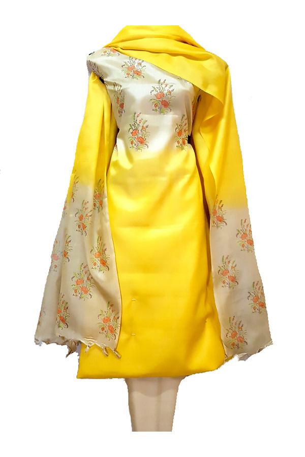 Tussar Silk Salwar Kameez Yellow_9
