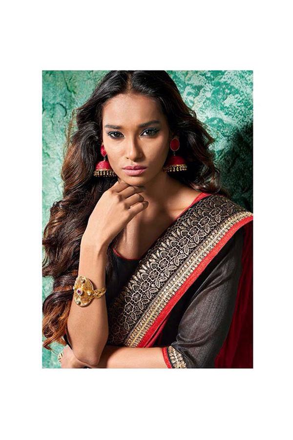 Floral  Printed Satin Silk Saree in Black