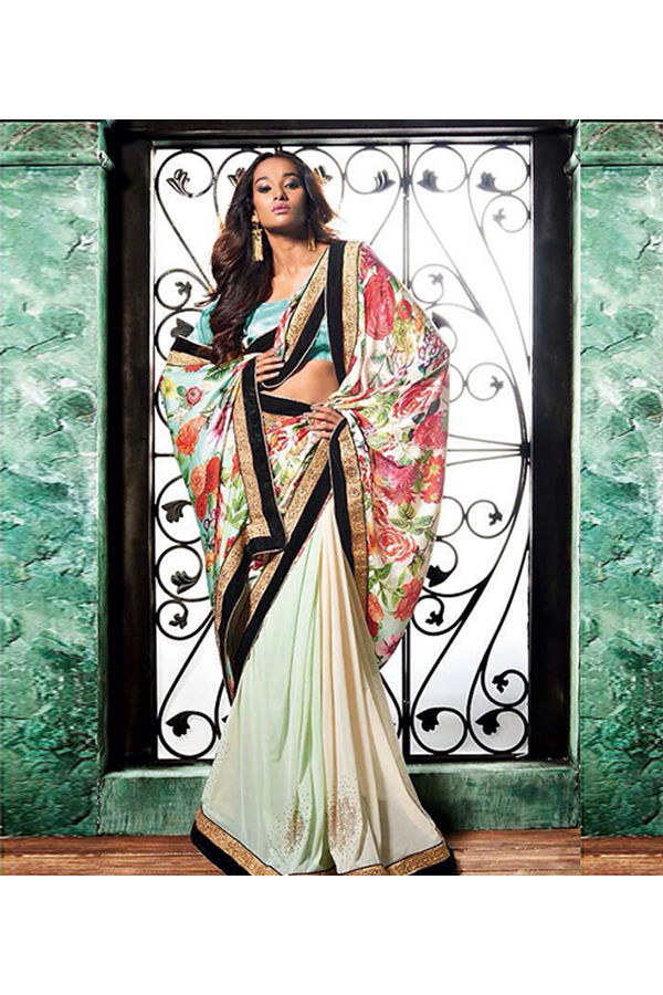Floral Multi Color Printed Saree in Crepe