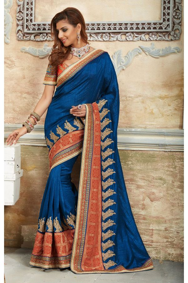 Designer Wedding Raw Silk Saree in Blue Color_1