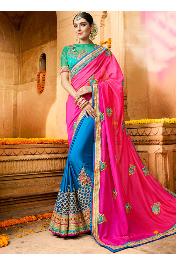 Designer Wedding saree in Blue Color_11