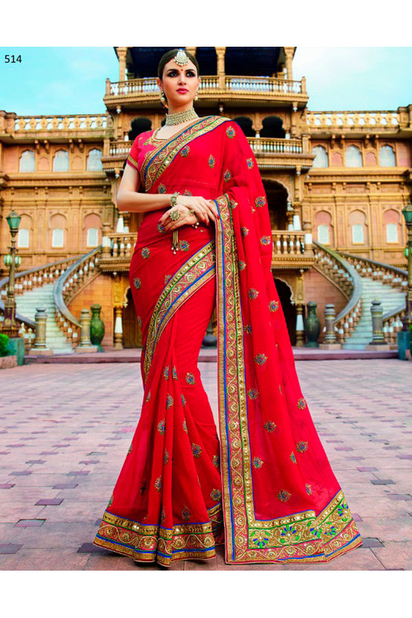 Designer Wedding Red Bridal Saree_12