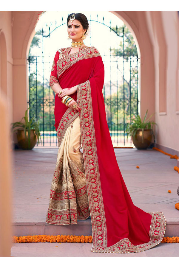 Red Bridal Saree for wedding with Heavy embroidery