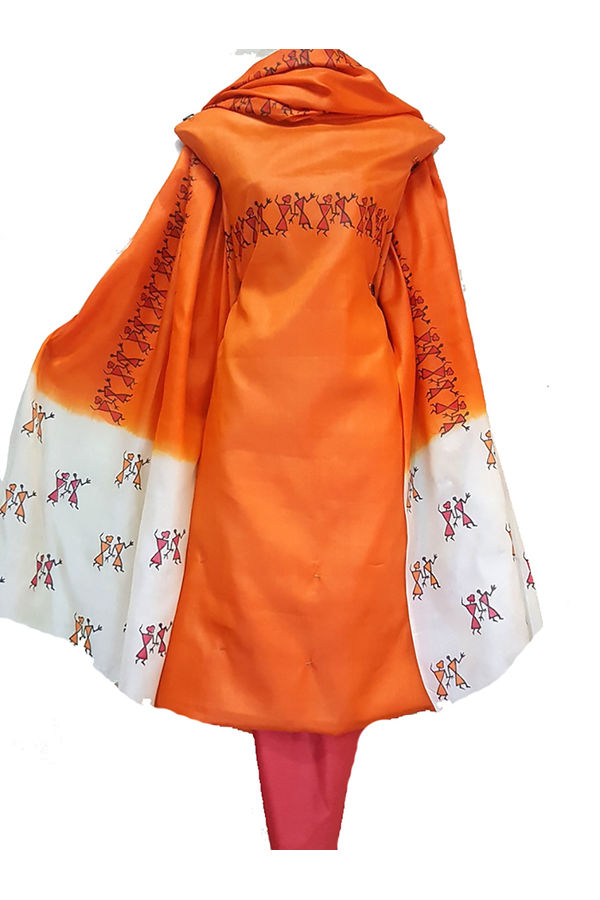 Block Printed Pure Tussar Silk Material in Orange Color