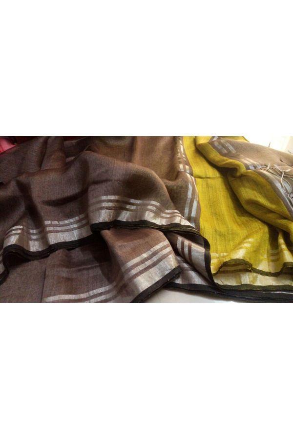 Dee's Alley  Pure Linen Silk Saree with Silver Zari Border