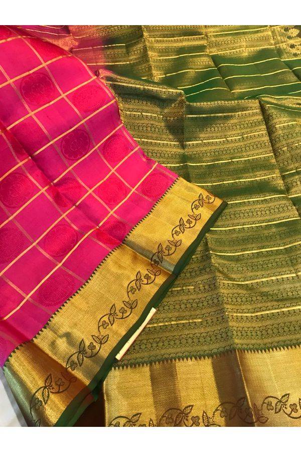 Dee's Alley  Shaded Green Red Color Pure Kanjeevaram Silk Saree - 100% Pure Silk