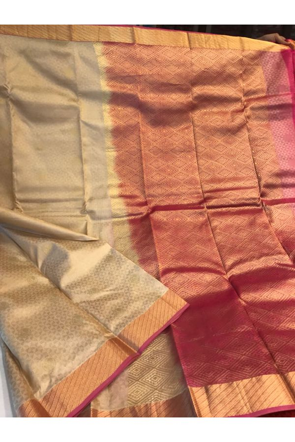 Dee's Alley Golden Color Pure Kanjeevaram Silk Saree - 100% Pure Silk