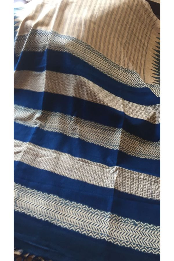 Dee's Alley Blue Block Printed Tussar Silk Saree