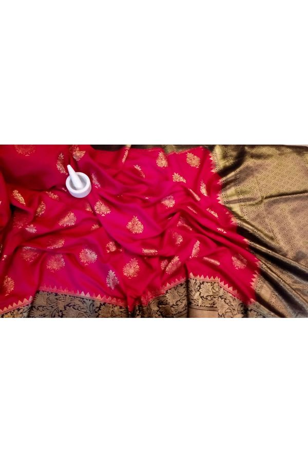 Red Linen and Katan Silk Blend Saree with Contrast Blouse