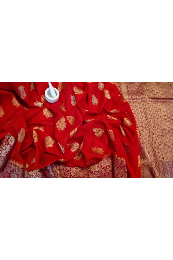 Red Color Linen and Katan Silk Blend Saree with Contrast Blouse