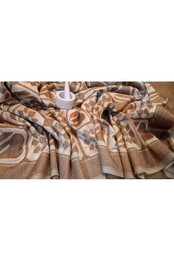 Beige Brown Color Banarasi Silk Saree with Contrast Border