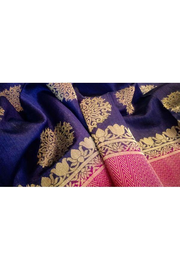 Purple Color Banarasi Saree with Floral Motifs