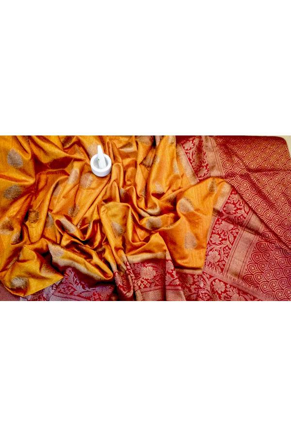 Mustard Yellow  Linen and Katan Silk Blend Saree with Contrast Blouse
