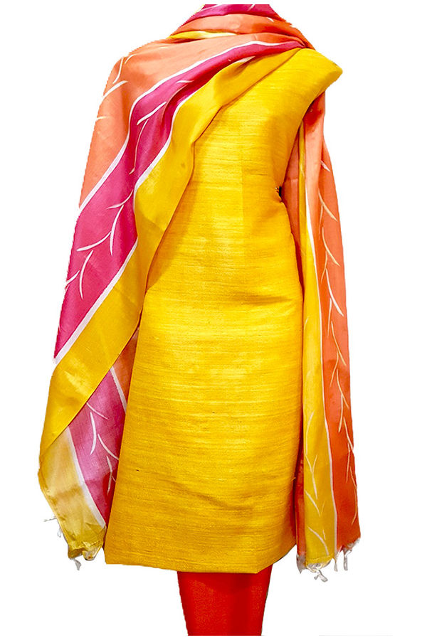 Yellow Tussar Pink Tussar Silk Material R 53