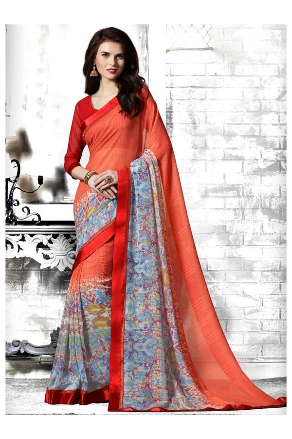 Casual Coral  Red Blue printed Georgette Saree
