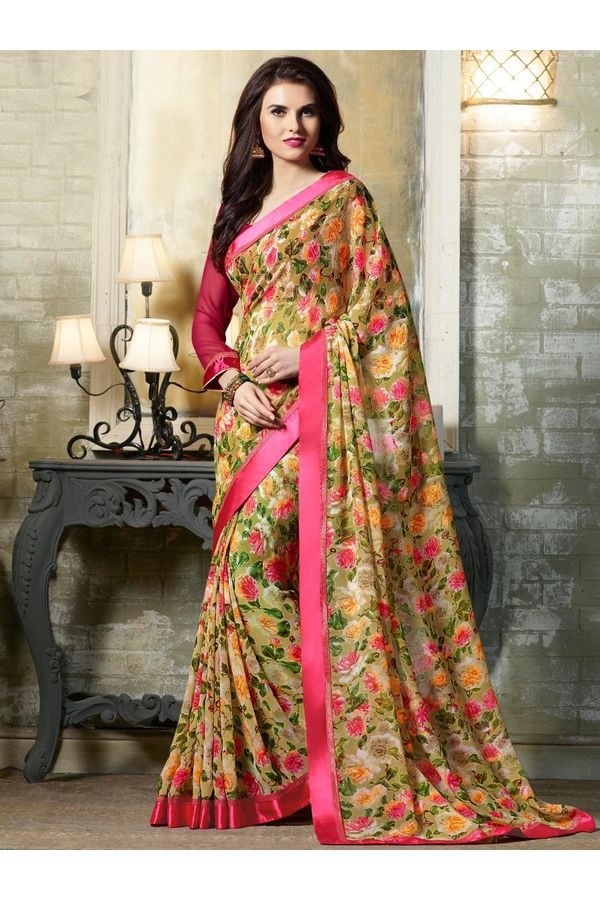 Casual green printed Georgette Saree (1)