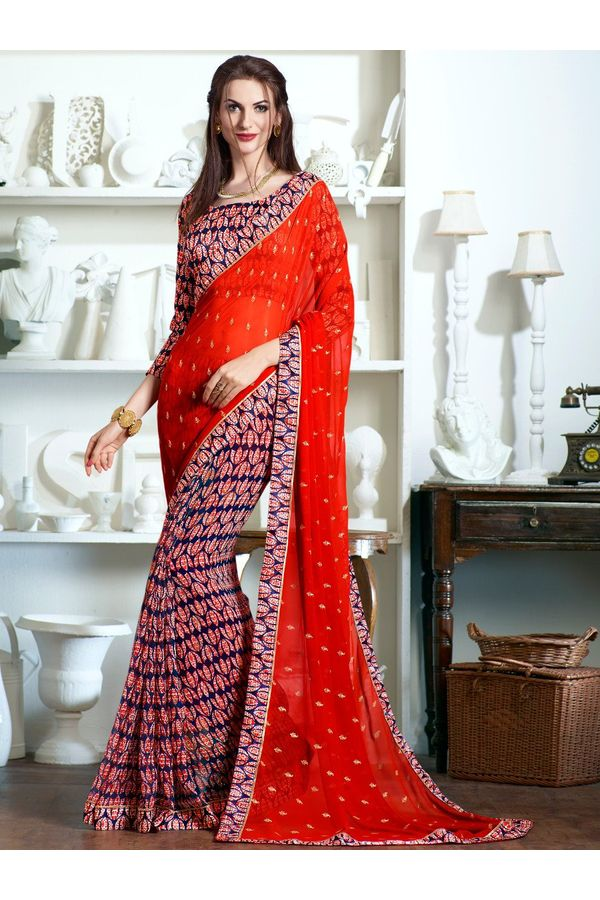 Blue red printed Georgette Saree