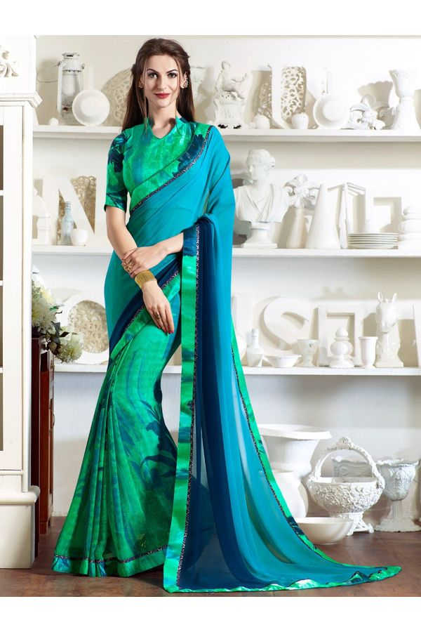 Green turquoise printed Georgette Saree