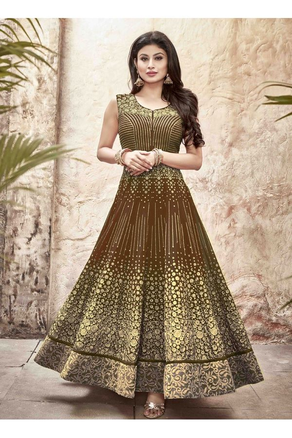 Mouni Roy Brown Long Anarkali Salwar Suit with Zari work