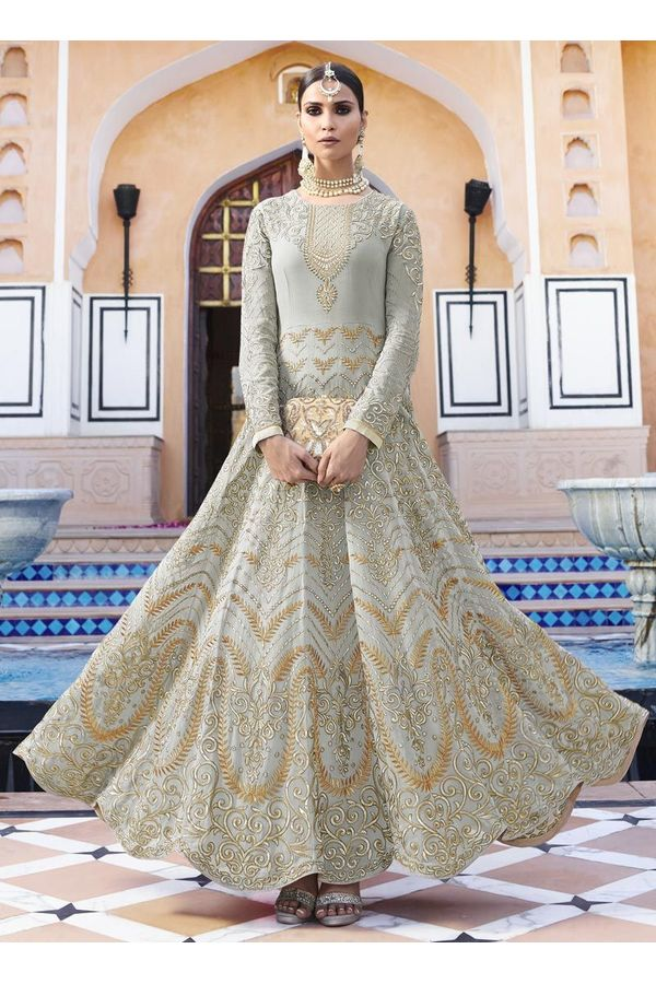 Grey  Georgette  Long and heavy  Anarkali Dress