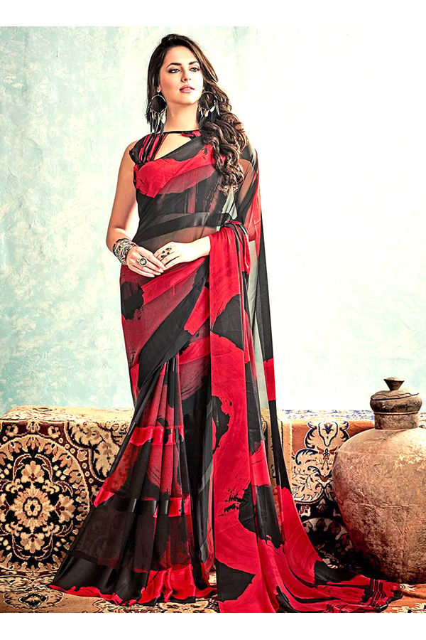 Printed Georgette Saree in Black and Red