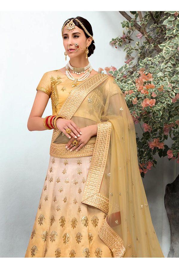 Creamish Yellow  Raw Silk Heavy  Wedding Lehenga Choli