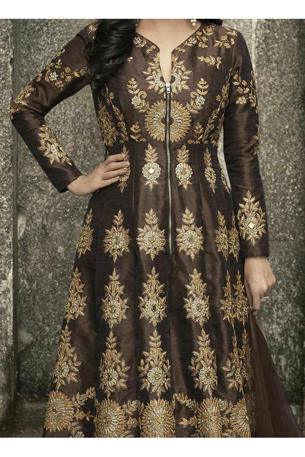 Diya Mirza in Brown Color Embroidered  Anarkali Salwar Suit