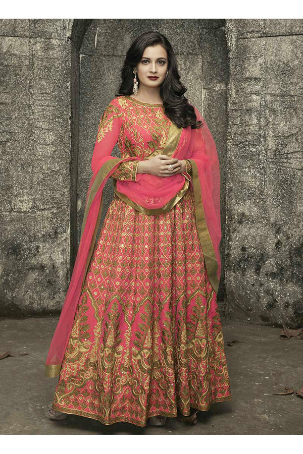 Diya Mirza in Coral Pink Color Embroidered  Anarkali Salwar Suit
