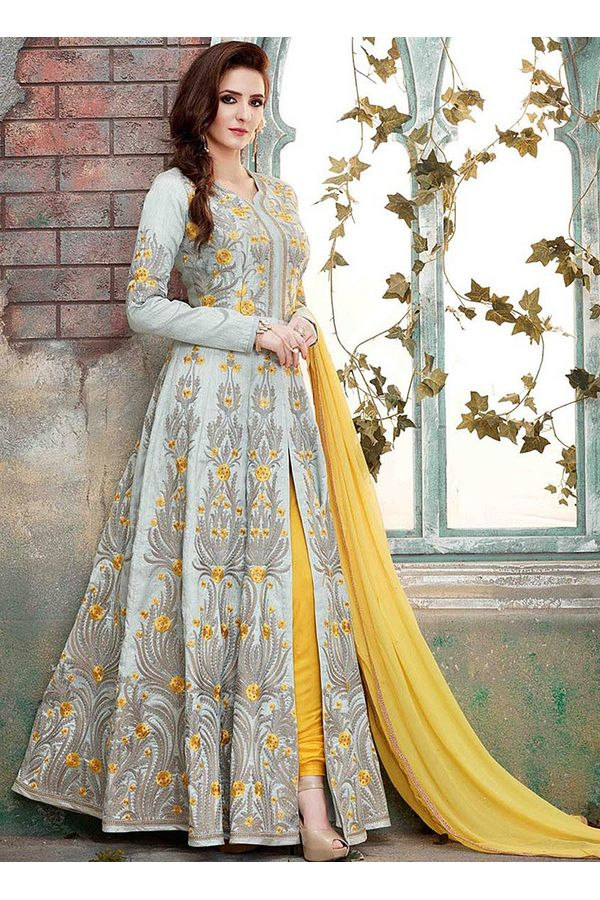 Indo-Western Front Open Slit Anarkali Suit with Pants