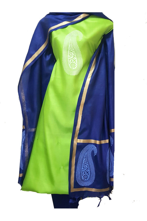 Blue with Green Paisley  Tussar Silk  Salwar Suit