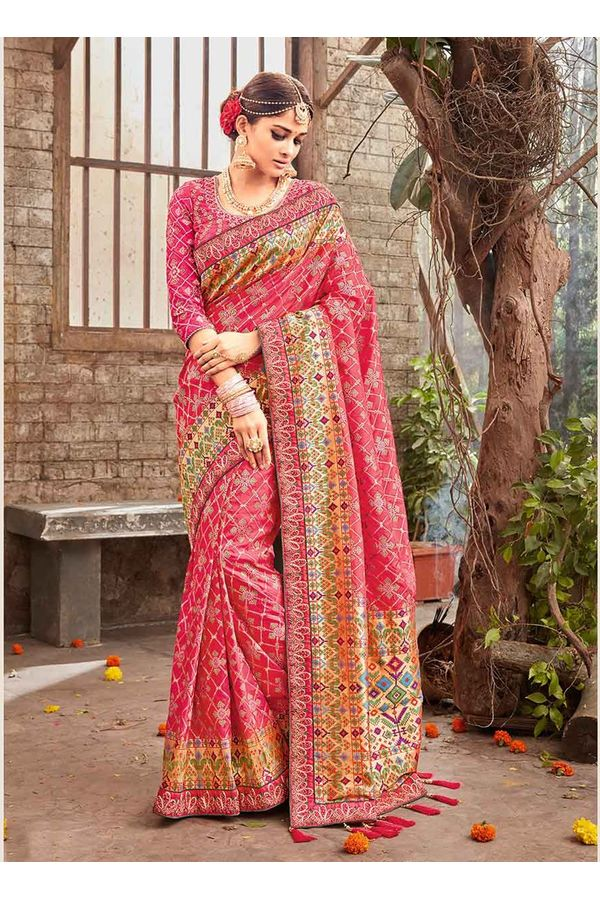 Banarasi Silk Wedding saree with Meenakari weave in Pink Color