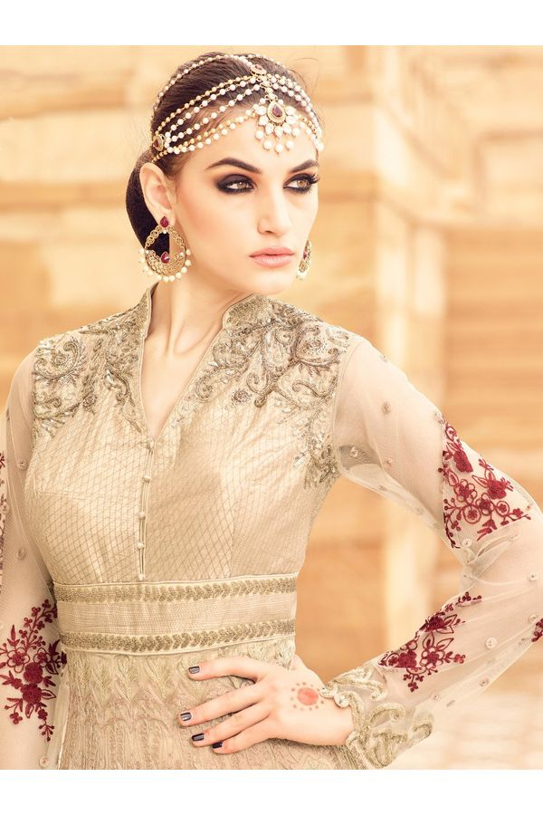 Beige Long Style Art Silk N Net Anarkali Suit_MOH2