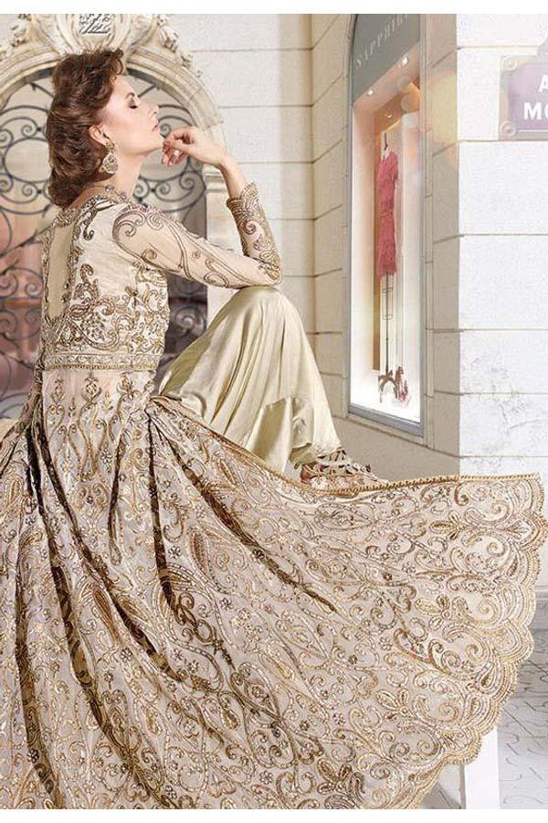 Designer Golden Beige Anarkali  Dhoti Style  Suit