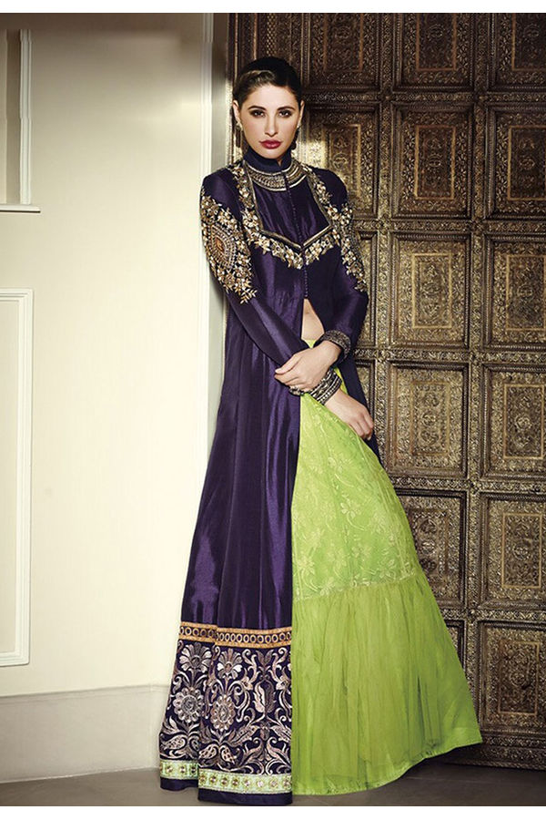 Purple Green Jacket Style Long Indo- Western Anarkali