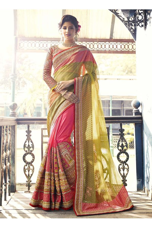 Light Green with Pink Heavily Designer Designer Saree