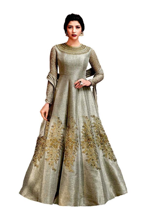 Grey Jute Silk Indowestern Long Anarkali Gown