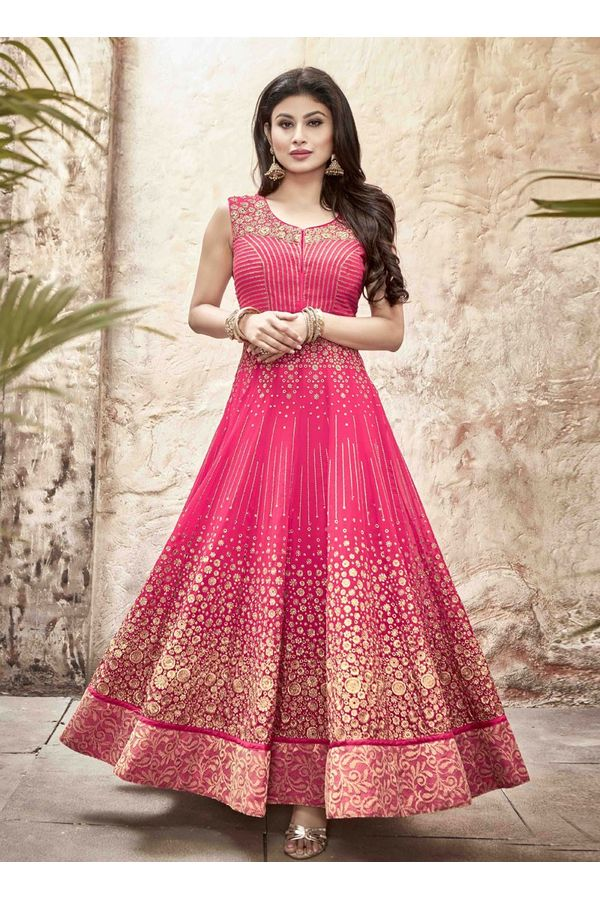 Mouni Roy Pink Long Anarkali Salwar Suit with Zari work