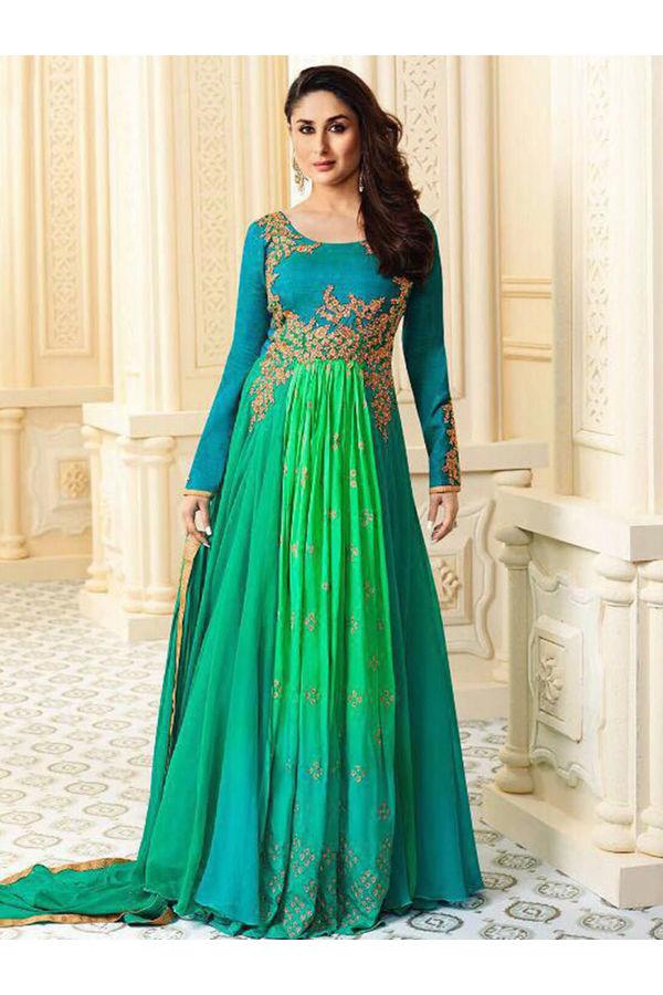 Kareena Kapoor Blue & Green Georgette  Anarkali Gown Suit
