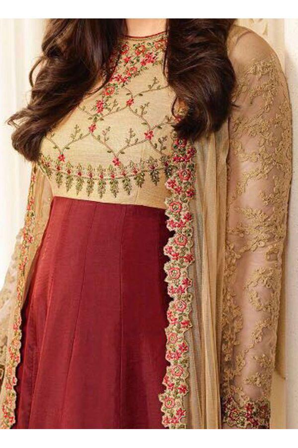 Kareena Kapoor in Beige and Maroon Long Anarkali Suit