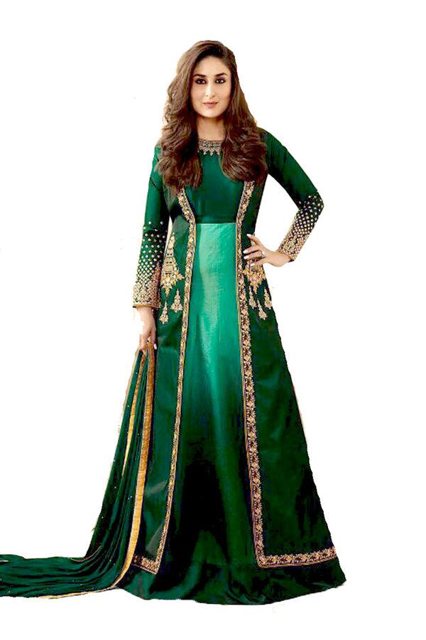 Kareena Kapoor Dark Green  Raw Silk Anarkali Gown Suit