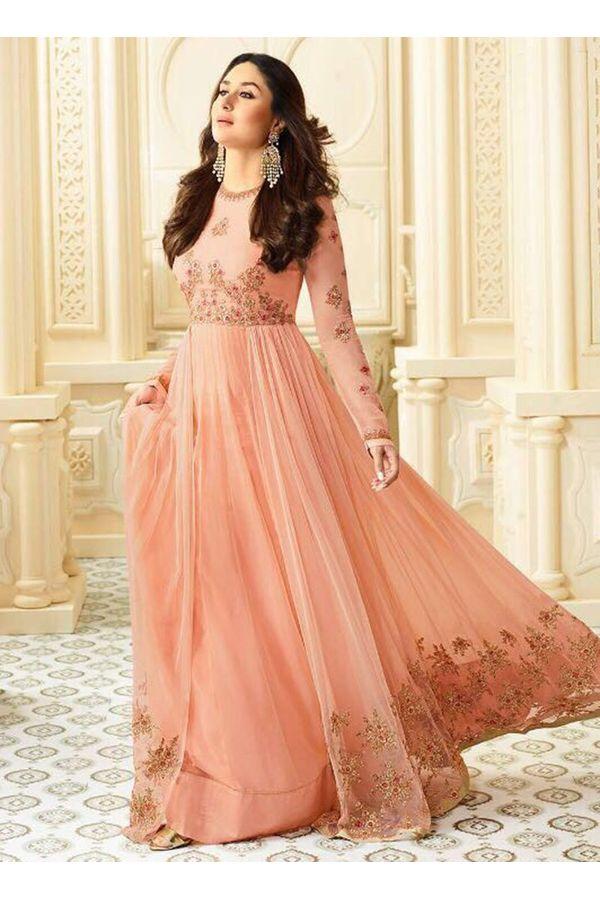 Kareena Kapoor Peach Color Long Anarkali Suit