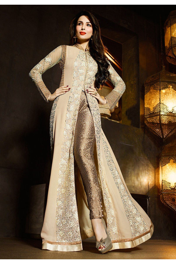 Malaika Arora Georgette Cream Embroidered Work Salwar Suit